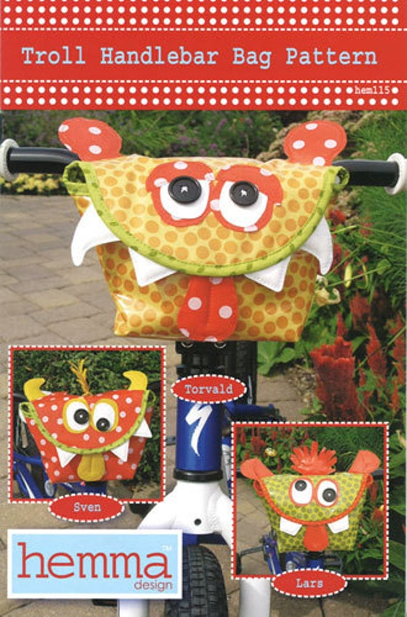 F  U  N  pattern for Childrens Monster Bike Handlebar Bag