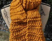 Chunky Gold Scarf - Ladies Knit Long Scarf - Mens Winter Scarf - Butterscotch - Honey - Yellow - Gold