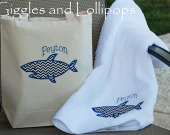 Boys personalized Canvas tote with matching towel Summer gift set Ring Bearerl gift