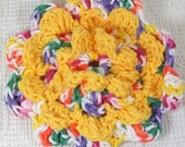 Crocheted Flower in Gumdrop and Yellow