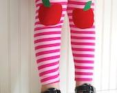 Apple Leggings Pink Stripe Leggings Apple Tights Knee Patch Leggings Girls Pants Girls Sizes 2 3T, 4 5, 6 7, 8, 10 - by The Trendy Tot