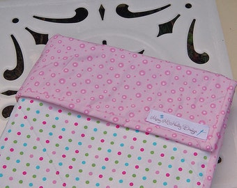 SALE - Organic Baby Quilt in Pink and Muti Colored Polka Dot Fabric-Ready to Ship