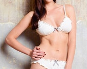 Lingerie set -Soft Bra and Panty Set -  Bamboo, Organic Cotton  Lace      Lingerie / Underwear Made to Order