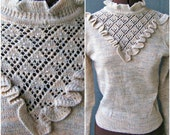 Vintage 80s Sweater/ Ruffle Yoke / Pearls / High Collar / Victorian / Pretty / Puffed Sleeves