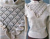 Vintage 80s Sweater/ Ruffle Yoke / Pearls / High Collar / Victorian / Pretty / Puffed Sleeves