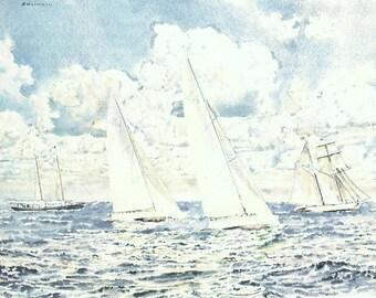 Vintage Nautical Print, Book Plate, Sailing Print, America's Cup, Syndicate Mates, Shenandoah, Intrepid, Joseph Golinkin, 1977