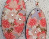 RESERVED FOR LORI - Cherry Orchard Decoupage Earrings - Coral and White, small ovals