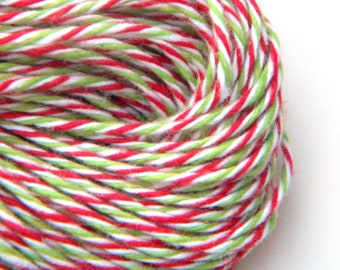 Christmas Baker's Twine , Red and Green, 25 yards or 75 feet, Limited Holiday Edition, Divine Whisker Graphics
