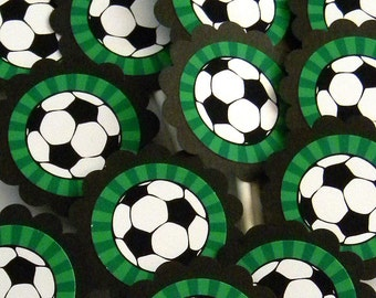 Soccer Ball Cupcake Toppers, Set of 12