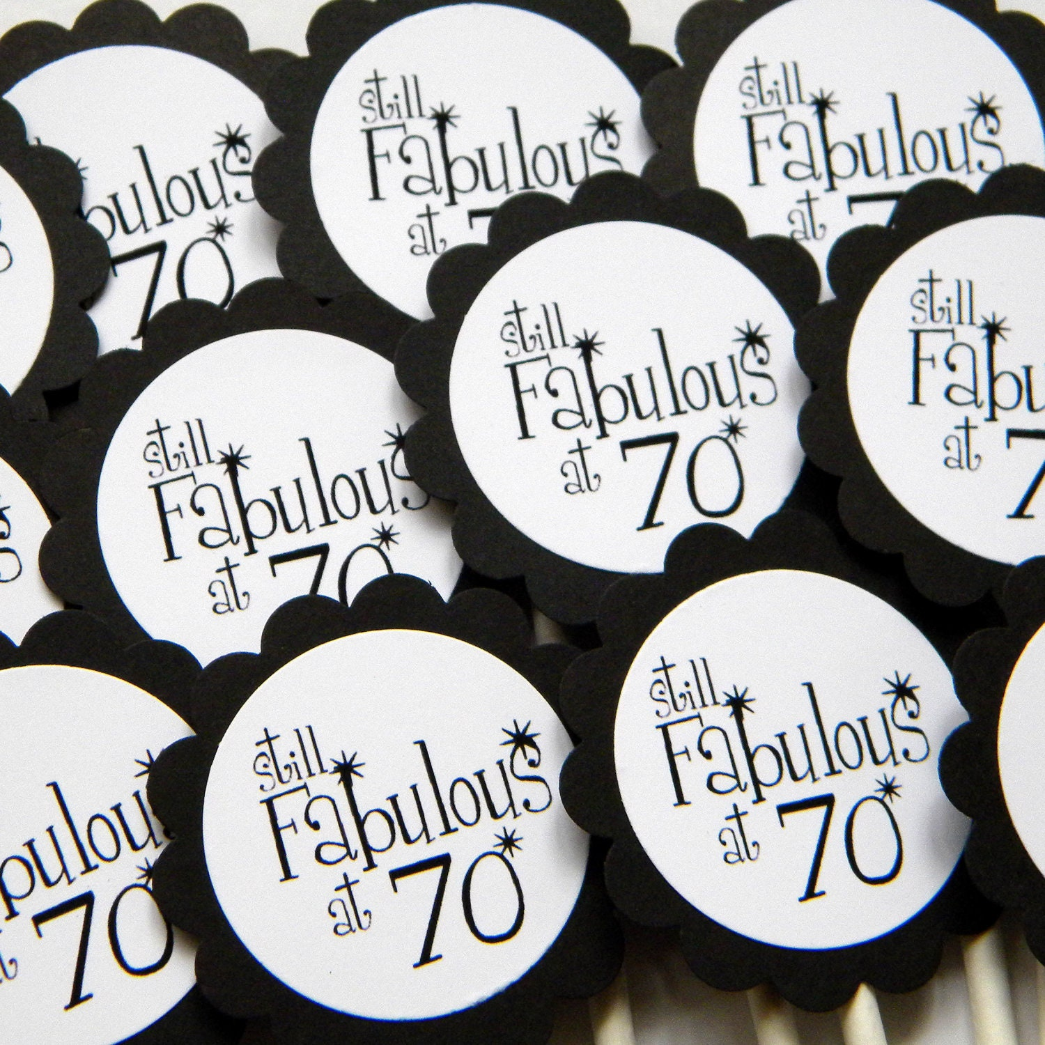 Fab At 70: 70th Birthday Cupcake Toppers Still Fabulous At 70 Black