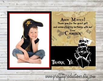 Thank Ye custom pirate thank you card - digital file