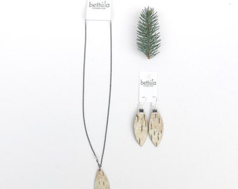 Birch bark wedding necklace and earring sets