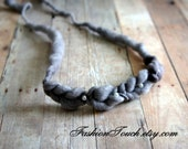 Grey Braided Headband, Tie Back Headband Newborn Photo prop