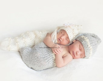 Twin Hats and Cocoon set, Stocking Newborn Baby Hats, Newborn Photo Prop, Photography Prop