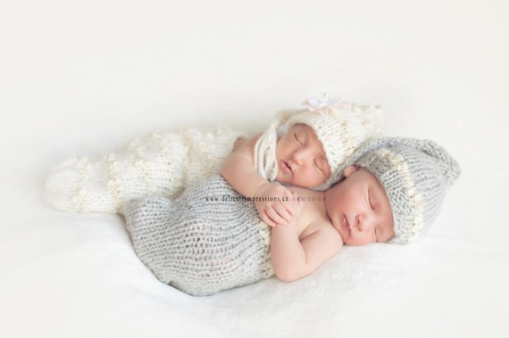 Baby Hats and Cocoons, Newborn Baby Hats Set, Triplet Hats, Baby Photo Prop, Stocking Newborn Baby Hats
