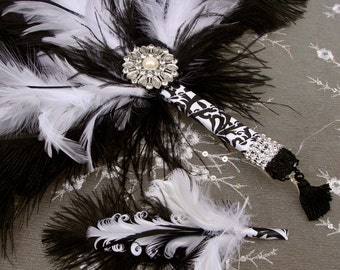 Black and White Ostrich Feather and Damask Bridal Fan