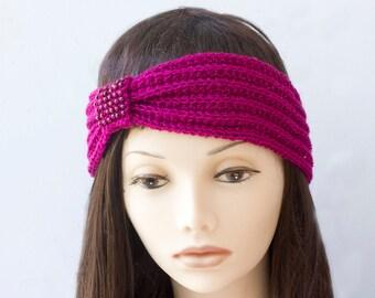 SALE, Raspberry Beaded Flapper Headband,  1920s Style Head Wrap,  Hand Knit Ear Warmers. Ready to Ship