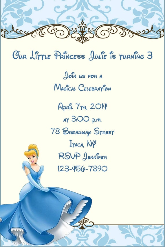 Girls Cinderella Princess Printable Birthday Party Invitation – Cinderella Birthday Card