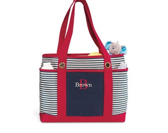 Canvas Tote Bag Monogram Striped Nautical Stripe - navy, red, green - Preppy