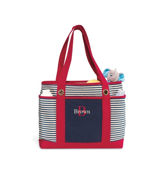 Personalized Bag - Nautical Striped Tote