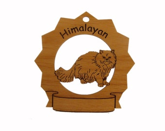 7175 Himalayan Cat Standing Personalized Wood Ornament - Free Shipping