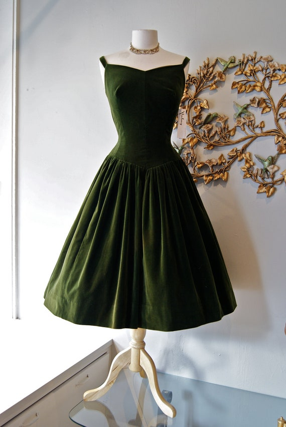 50s Dress // 1950s Party Dress // Vintage 1950s Couture Olive Green Velveteen Party Dress Size M