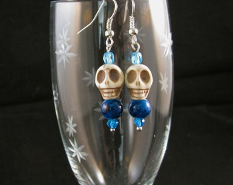 Stone Skull with cyan lampwork bead and Swarovsky crystals sterling dangle earrings