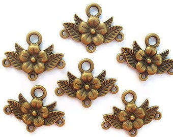 25 Links, Finding Supply, 25 Chandelier Flower Components, Antiqued Bronze Colored, 30mmX23mm