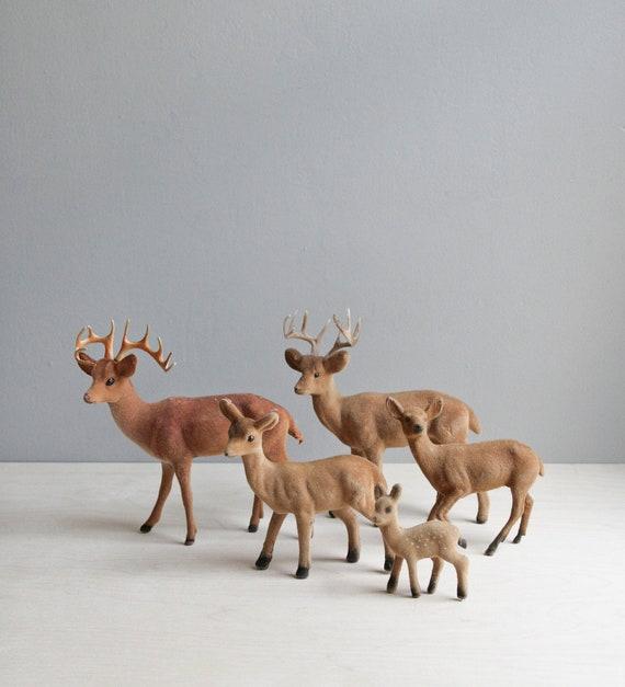 vintage flocked deer collection