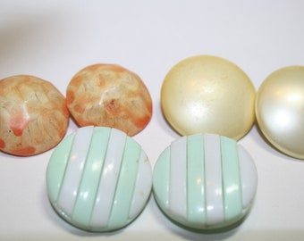 Vintage Button Earrings lot, 3 pairs 6 earrings , Lucite plastic clip on Re-purpose  or wear as is, mad men era