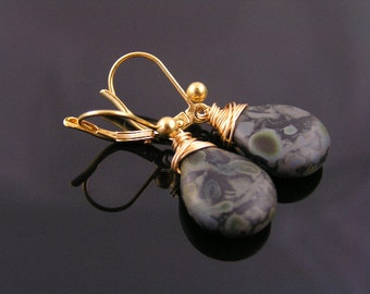 Large Camouflage Color Czech Drop Earrings, Bright Gold Earrings
