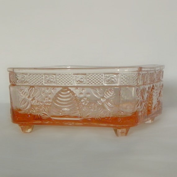 Vintage Indiana Glass Honey Bee Candy Dish No Lid Base Is Mint c1980s