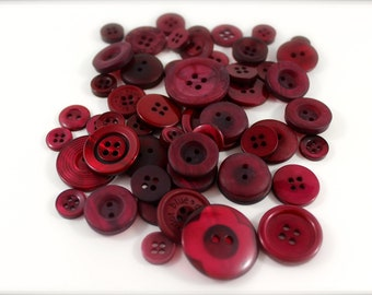 50 Rustic Crimson Buttons-Buy 3, Get 1 FREE