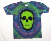 Tie Dye Shirt, Zombie Tie Dye T Shirt, Day of the Dead Tie Dye Shirt, Youth extra small