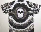 Black and White Tie Dye TShirt, Tie dye Zombie Shirt, Skull shirt, Adult Large