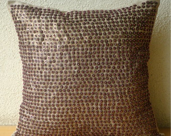 "Luxury Sequins & Beaded Dotted Sparkly Glitter Pillows Cover, Brown Throw Pillows Cover Silk, Square  20""x20"" - Metallic Magic"