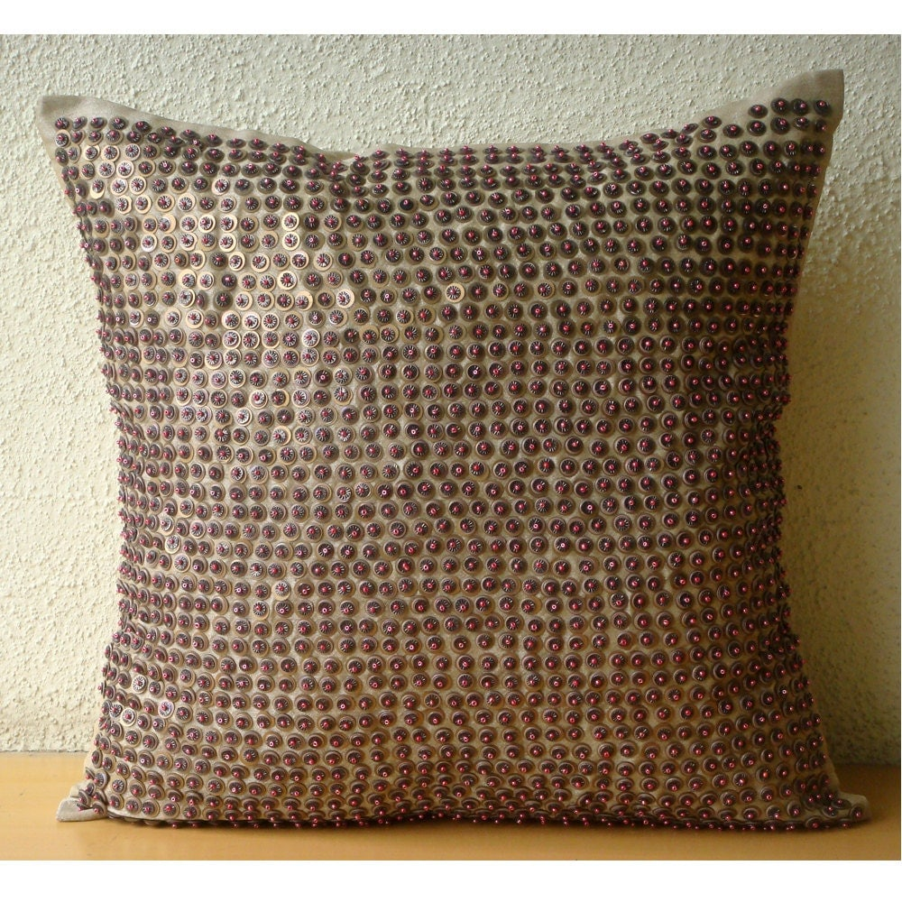 Brown Sofa Pillows: Brown Throw Pillows Cover Square Sequins & Beaded Dotted