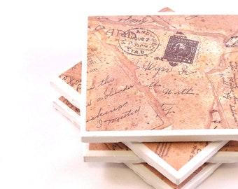 Vintage Tile Coasters - Postcards - Set of 4 Tile Coasters
