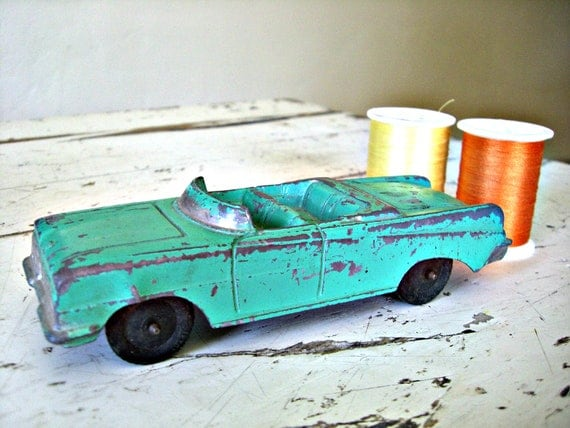 Large Tootsie Toy Oldsmobile Convertible- VERY Sweet With Mint Colored CHippy Paint