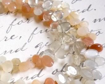 SALE Rainbow Moonstone Peach Grey Cream Oval Briolette Beads 1/2 Strand