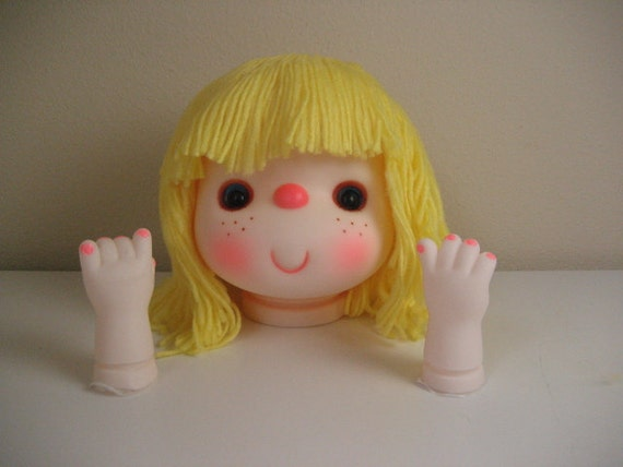 Vintage Large Girl Plastic Doll Head with Yarn Hair and Matching Hands