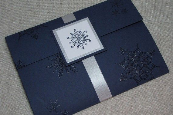 Navy Blue And Silver Wedding Invitations: Snowflake Navy & Silver Wedding Invitation Pocket Fold