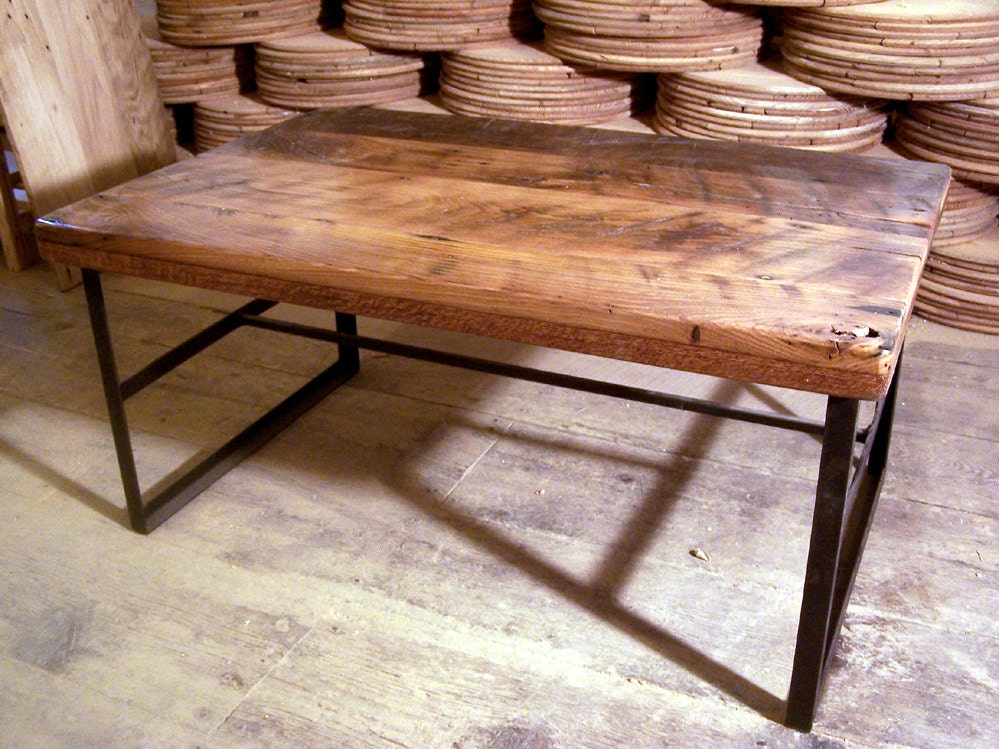 Reclaimed wood coffee table with industrial metal base Industrial metal coffee table