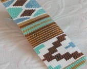 2 Loom or Even Drop Peyote Bead Patterns for the Price of 1- Ethnic #2 Cuff Bracelets in 2 Color Combinations, Mint and Blue