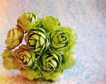 Chartreuse green Garden Roses Vintage style Millinery Flower Bouquet - for decorating, gift wrapping, weddings, party supply, holiday