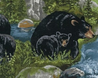 Black Bear Fabric Etsy