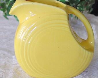 Antique Sunny Lemon Fiestaware in Harlequin Yellow Marigold Fiesta Juice Pitcher - Mid Century Retro Decor - Ice Tea Jug - Picnic Accessory