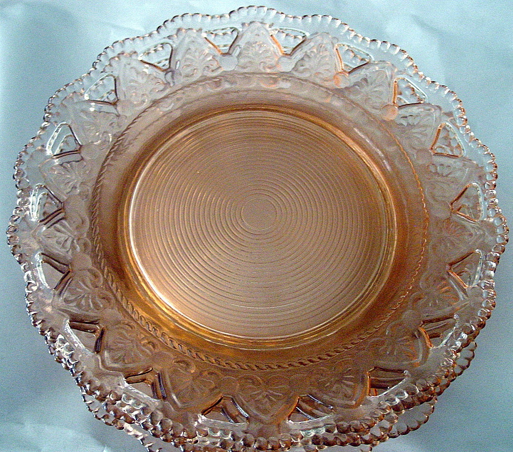 Vintage rare pink depression glass scalloped edges by for Most valuable depression glass patterns