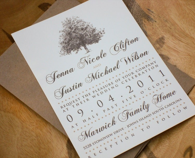 Rustic magnolia tree wedding invitations with brown by for Magnolia tree wedding invitations