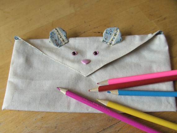 Pencil Case, Mouse, with eyes nose and ears, fully lined, mouse